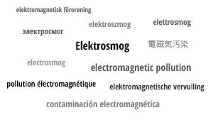 Das Wort Elektrosmog auf verschiedenen Sprachen