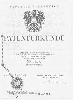 Patenturkunde des Hamoni® Harmonisierers
