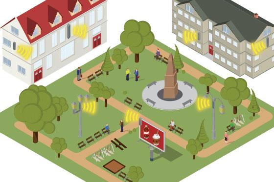 5G Antennen werden in Hausfassaden und Plakatwände integriert