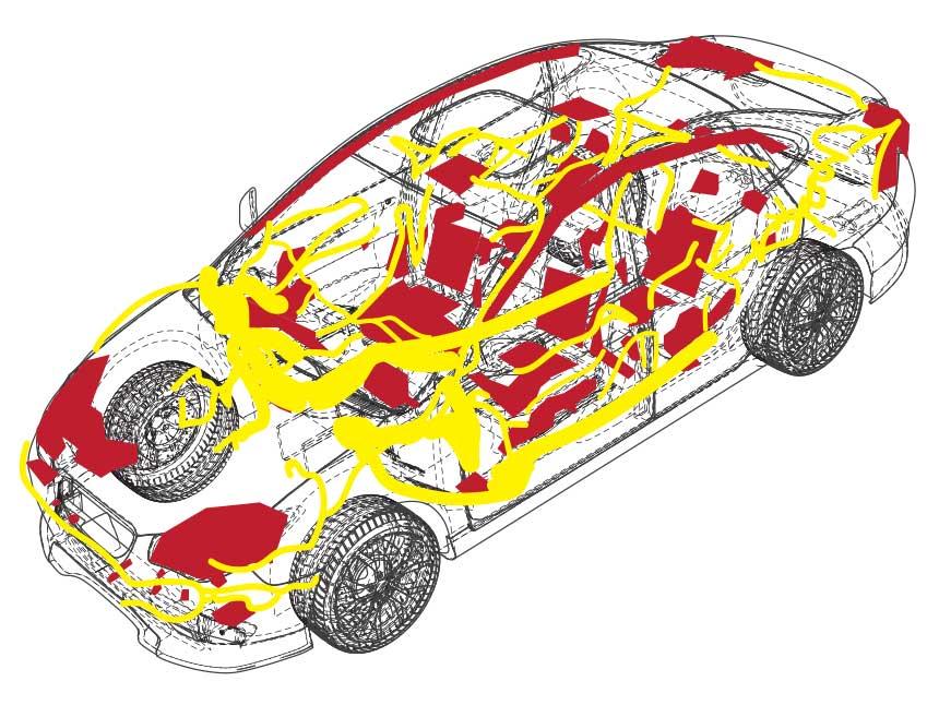 Elektrische Komponenten (rot) und elektrisches Bordnetz (gelb) eines PKWs