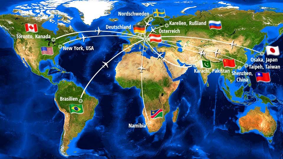 Weltkarte globale Herkunft der Bestandteile des Hamoni® Harmonisierers