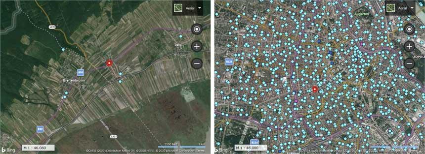 Vergleich Dichte der Mobilfunksendeanlagen Land mit Stadt