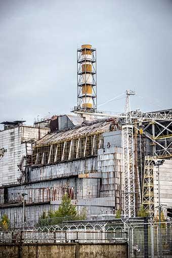 Zerstörter Reaktorblock von Tschernobyl