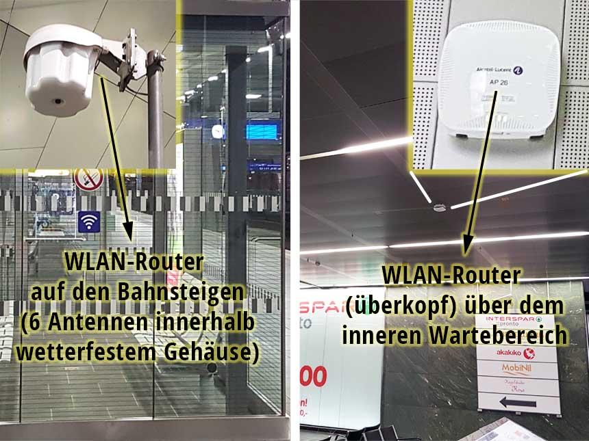 WLAN-Router im Wartebereich und auf den Bahnsteigen am Wiener Hauptbahnhof