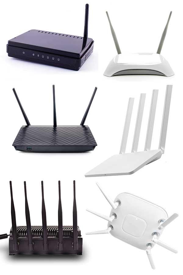 WLAN Router mit steigender Anzahl von Antennen